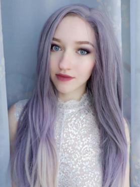 Violett Ombre Lange Glatte Synthetische Lace Front Perücke SNY238