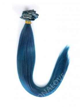 Blau-Farbeband Indisch Remy Haar Clip In Hair Extensions CD009