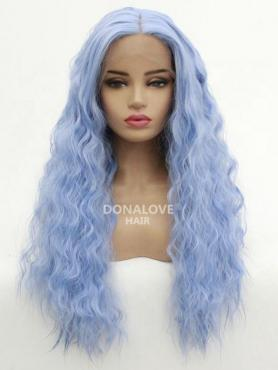 Hellblau Lange Wellige Synthetische Lace Front Perücke SNY215