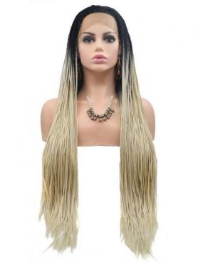 Blonde Ombre Lange Glatte Sythetische Lace Front Perücke SNY237