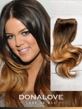 Zwei Farben Ombre indisch remy clip in hair extensions OD008