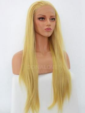 Blonde Lange Glatte Synthetische Lace Front Perücke SNY245