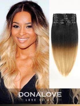 Zwei Farben Ombre indisch remy clip in hair extensions OD010
