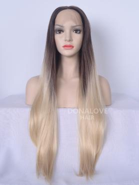 Dunkelbraun Ombre Blond Lange Synthetische Lace Front Perücke-SNY094