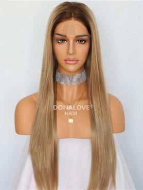 Blonde Ombre Lange Glatte Synthetische Lace Front Perücke SNY225